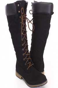 Black Lace Up Knee High Boots Nubuck