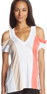 Women's Striped Open Shoulder T-Shirt