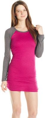 Women's Pink Long Sleeve Baseball Dress