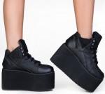 Women's Black High Platform Sneakers
