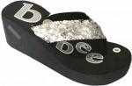 Women's Black Platform Flip Flops With Sequin