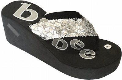 Women's Black Platform Flip Flops With Sequin