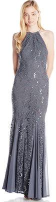 Grey Sequin Halter Neck Women's Gown