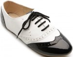 Lace up Black And White Women's Oxford Shoes