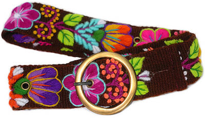 Brown Belt with Colorful Flowers