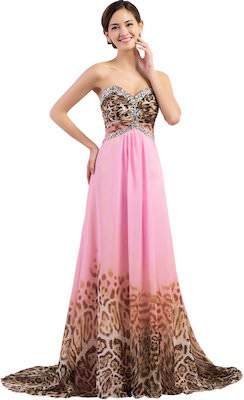 Grace Karin Long Pink And Leopard Print Prom Dress