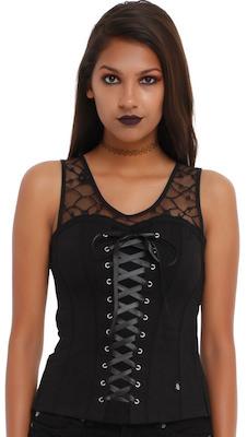 Women's Black Lace Up Corset Top