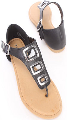 Black sandals with fun buckle