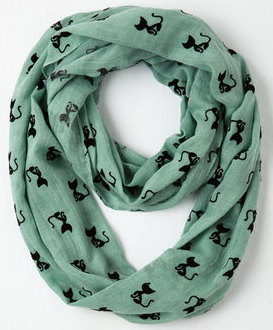 Cat Person Green Infinity Scarf