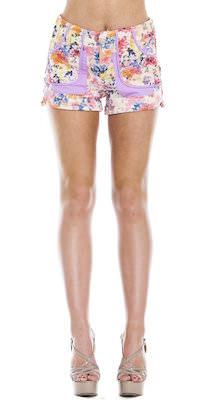 Women's Flowers On Lavender Shorts