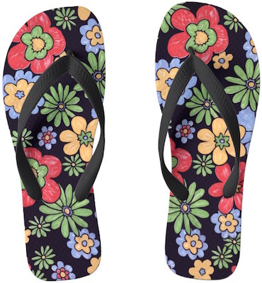 women's Colorful Flowers Flip Flops