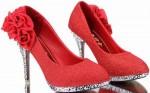 Women's Shiny Red Flower Pumps