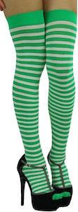 Women's Green And White Thigh High Socks