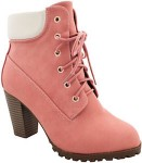 Chunky Pink Ankle Heeled Boots