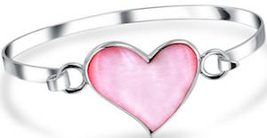 Silver Bangle Bracelet With Pink Pearl Hear