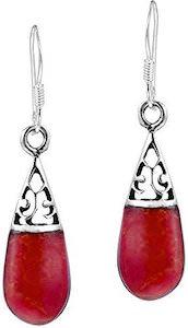 Red Coral Teardrop Earrings
