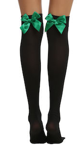 Black Thigh Highs Socks With Green Bow