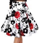 women's Black Flowers And Red Roses Skirt