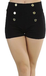 High Waist Shorts With Decorative Buttons