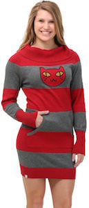 Cat Face Striped Sweater Dress