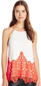 White women's camisole top with red crochet details