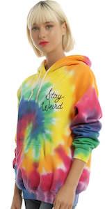 women's Stay Weird Tie Dye Hoodie