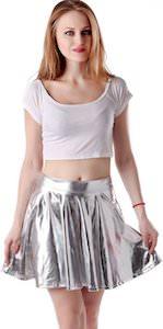 women's Metallic Silver Skirt