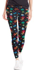 Black Christmas Leggings With Presents And A Reindeer