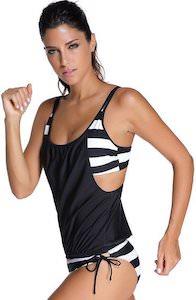 Striped Tankini Bikini Set