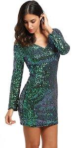 Green Sequin Long Sleeve Dress