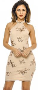 Nude Color Party Dress With Sequin Flowers