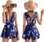 women's Blue Floral Romper