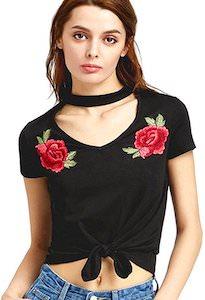 Women's Choker Style Floral T-Shirt