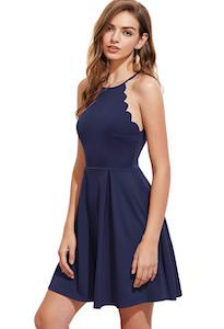 women's Scallop Cut Flared Dress