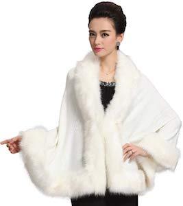 Faux Fur Shawl Wrap Coat