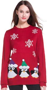 Women's A Row Of Penguins Christmas Sweater