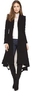 Women's Long Black Dovetail Trench Coat