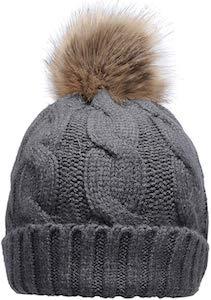 Knit Beanie Hat With Faux Fur Pompom
