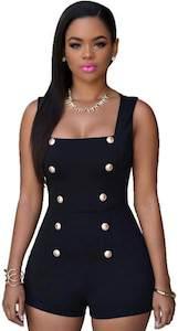 Women's Black Elegant Romper