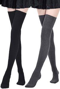 2 Pairs Of Thigh High Socks