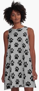 Light Grey Paw Print A-Line Dress