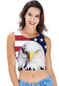 Bald Eagle And US Flag Crop Top