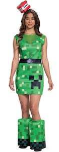 Women's Minecraft Creeper Costume Dress