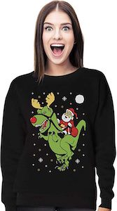 women's Santa Riding a T-Rex Christmas Sweater
