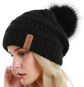 Baggy Beanie Hat With Pompom