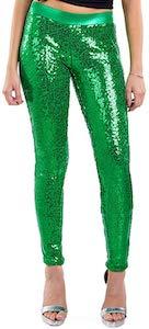 Green Sequin Leggings