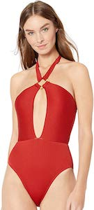 Red Anne Cole Ribbed One Piece Swimsuit