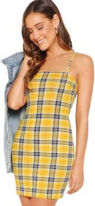 Yellow Plaid Mini Dress