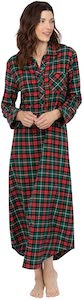 Women's Long Flannel Plaid Nightgown