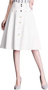 White Buttoned Knee Length Skirt